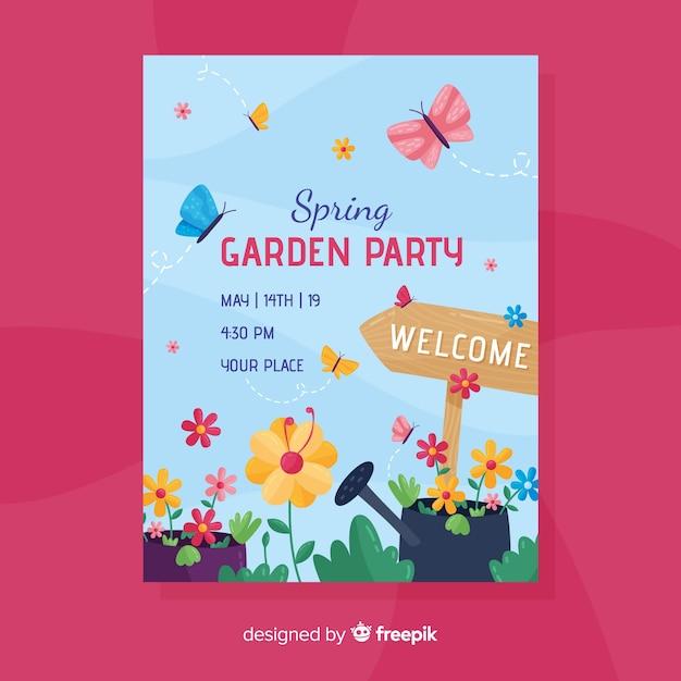 春の庭の招待状パーティーのチラシ 無料ベクター