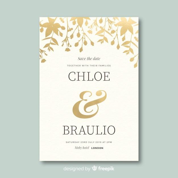 フラットなデザインの美しい結婚式の招待状のテンプレート 無料ベクター
