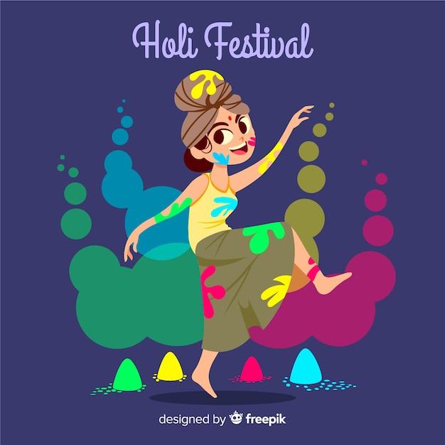 手描きの女の子ホーリー祭の背景 無料ベクター