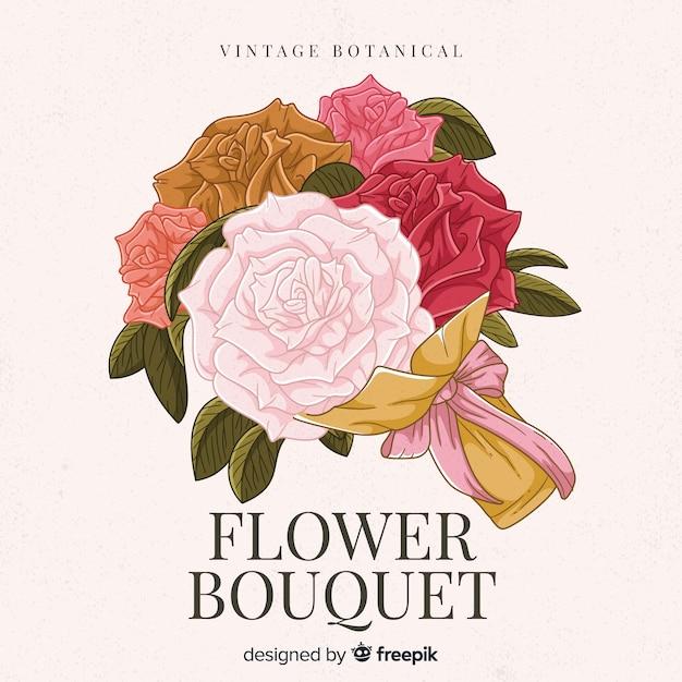 Винтажный ботанический цветочный букет Бесплатные векторы