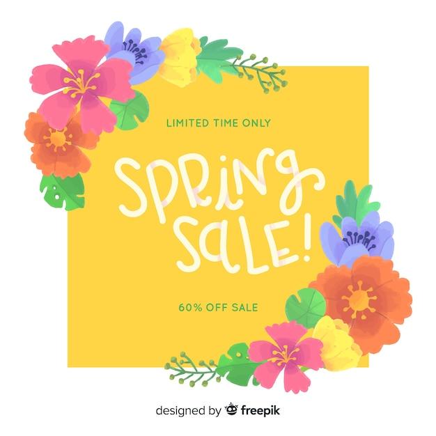 Красочный весенний фон продажи Бесплатные векторы
