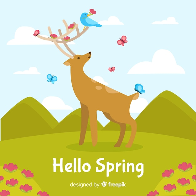 こんにちは春の背景 無料ベクター