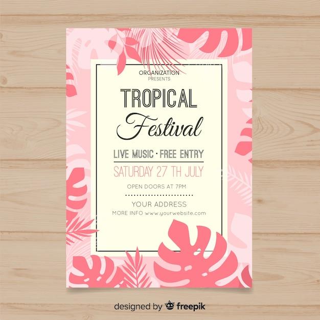 熱帯音楽祭のポスター 無料ベクター