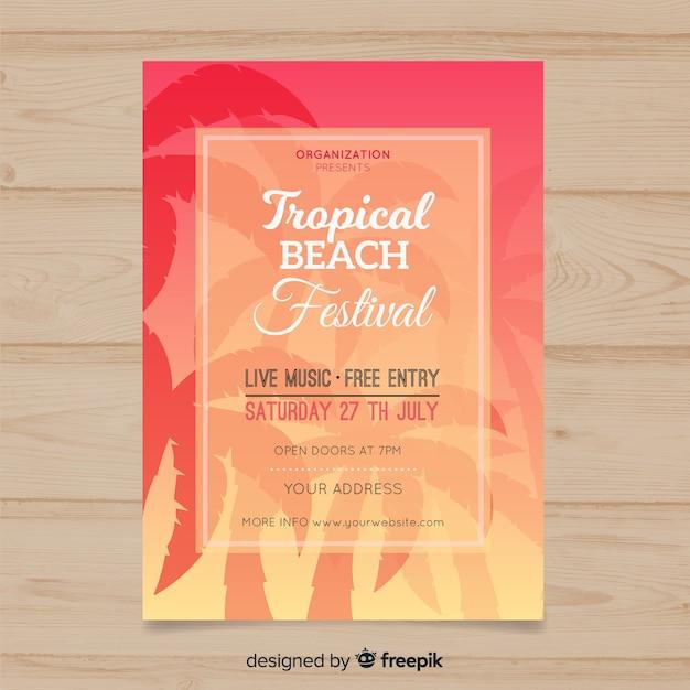 Плакат фестиваля пальмовой музыки Бесплатные векторы