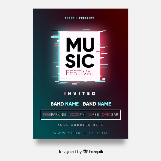 スクエアミュージックフェスティバルのポスター 無料ベクター