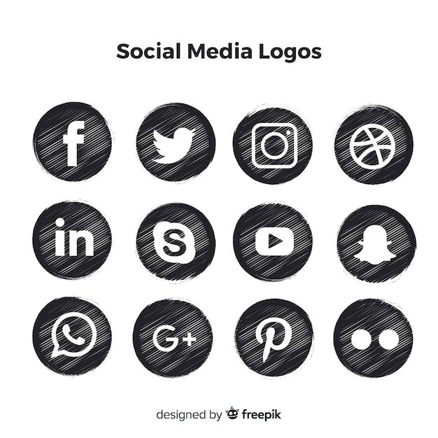 Черные логотипы в социальных сетях Бесплатные векторы