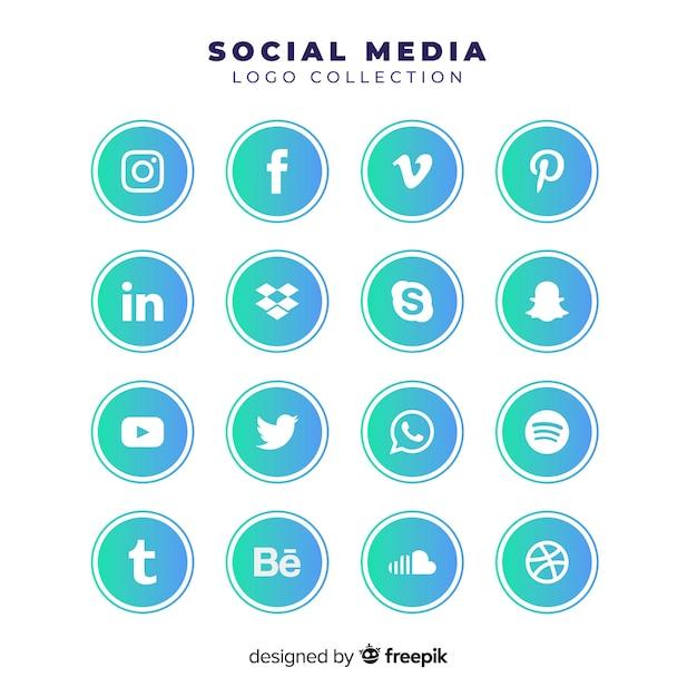 Градиентные логотипы в социальных сетях Бесплатные векторы