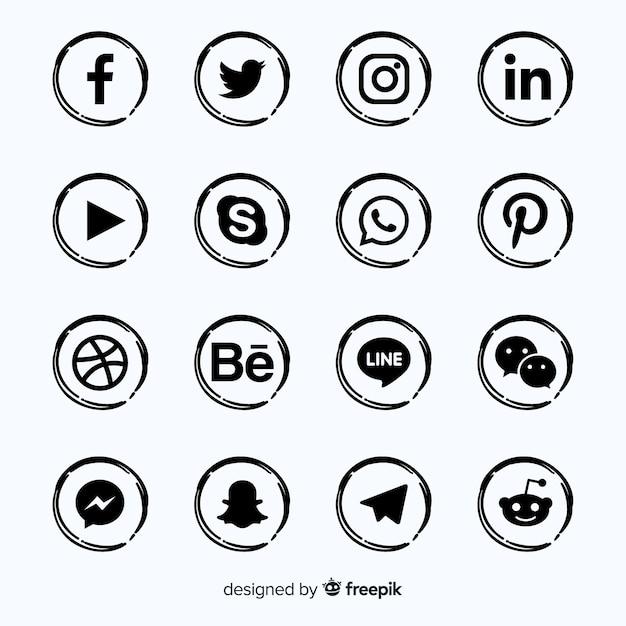 Коллекция логотипов в социальных сетях Бесплатные векторы