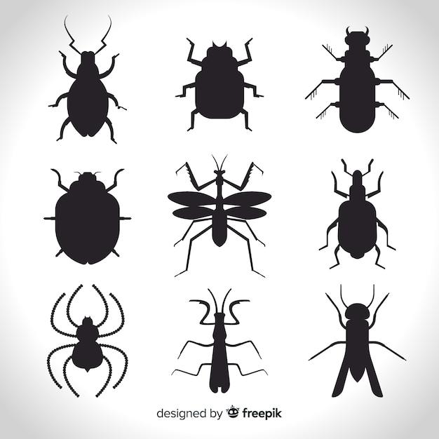 昆虫シルエットパック 無料ベクター