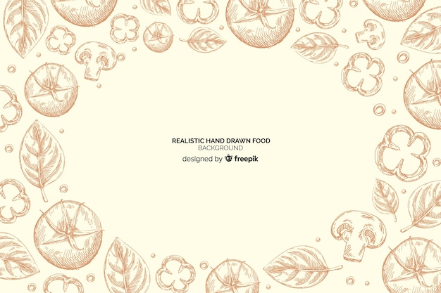 リアルな手描きの食品の背景 無料ベクター