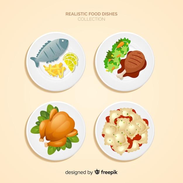 Коллекция реалистичных пищевых блюд Бесплатные векторы