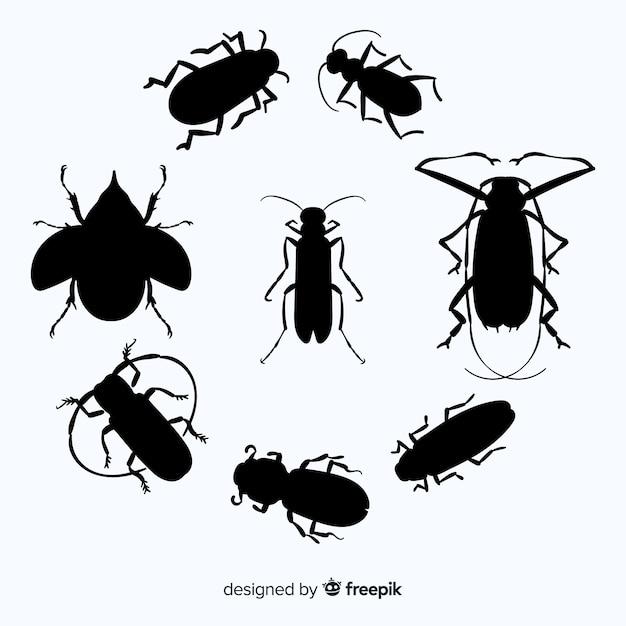 フラット昆虫シルエットコレクション 無料ベクター