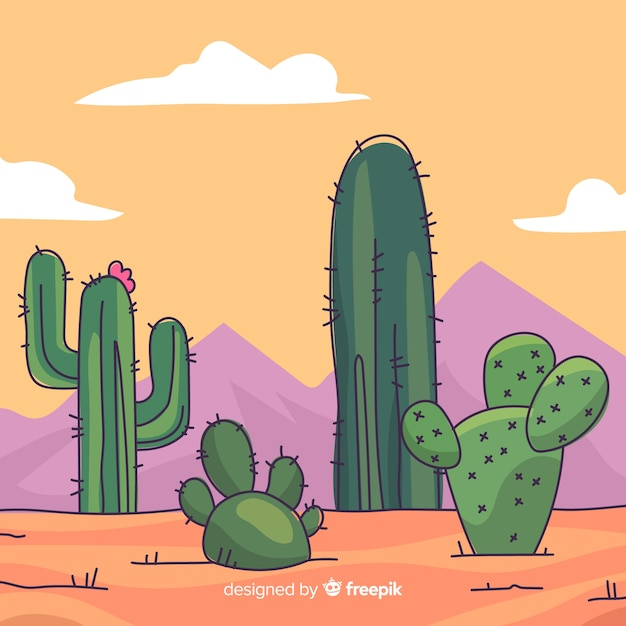 Пустынный кактус фон Бесплатные векторы