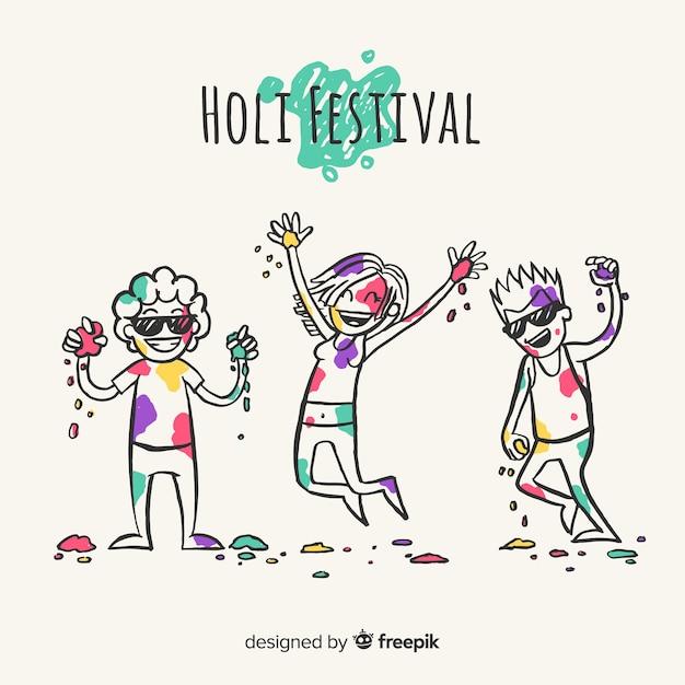 ホーリー祭を祝う手描きの人々 無料ベクター