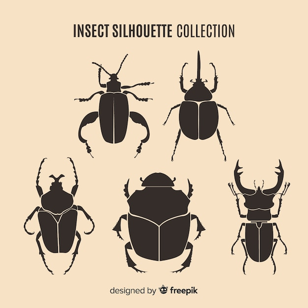 Коллекция силуэтов насекомых Бесплатные векторы