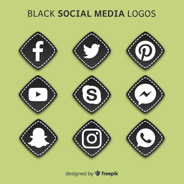 黒のソーシャルメディアのロゴ 無料ベクター