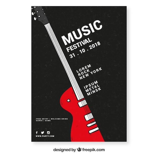 Шаблон флаера музыкального фестиваля Бесплатные векторы