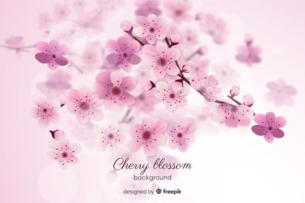 ぼやけた桜の花の背景 無料ベクター