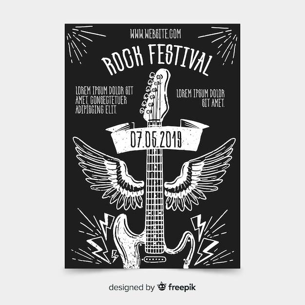 Шаблон плаката фестиваля рок-музыки Бесплатные векторы