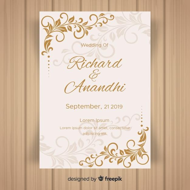 葉飾り結婚式招待状のテンプレート 無料ベクター