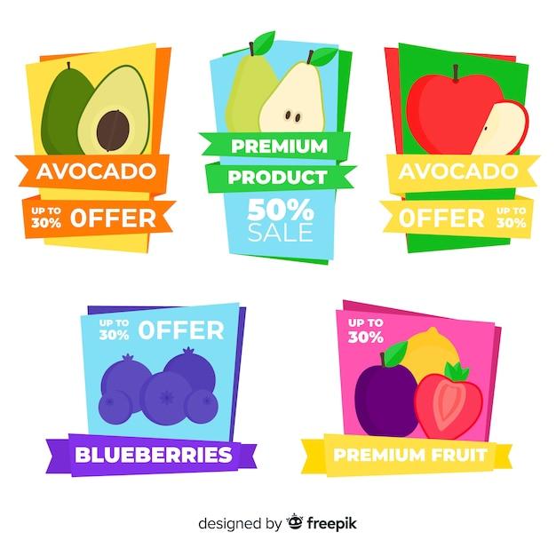 Коллекция фруктовых этикеток Бесплатные векторы