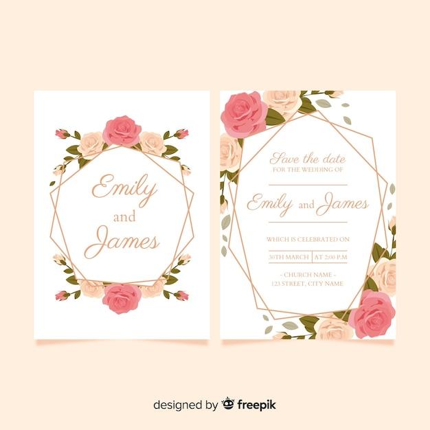 リアルなバラの結婚式の招待状のテンプレート 無料ベクター