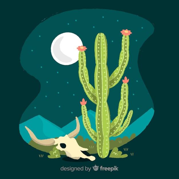 Кактус в пустыне ночью иллюстрация Бесплатные векторы