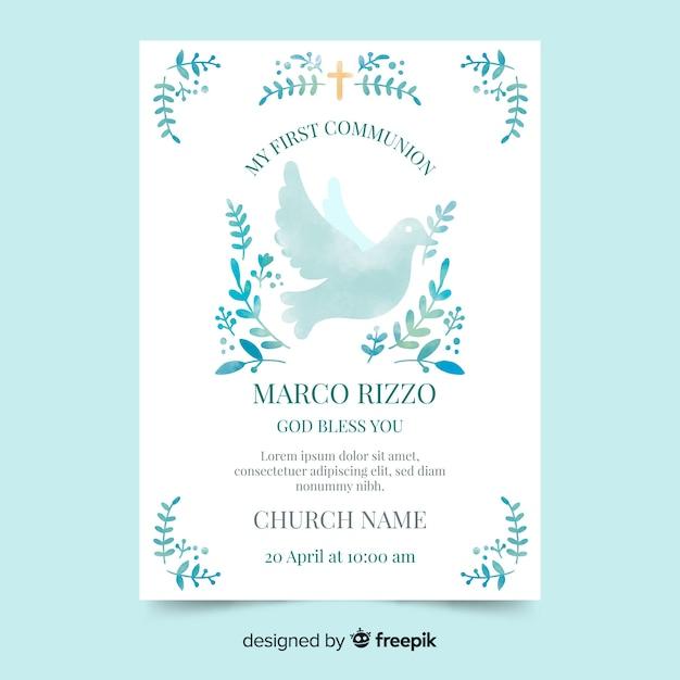 水彩鳩最初の聖体拝領の招待状 無料ベクター