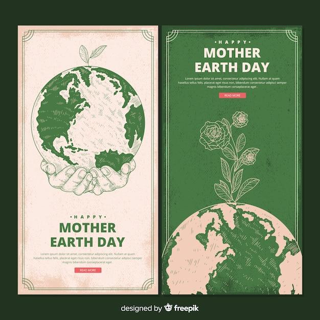 手描きの母なる地球日バナー 無料ベクター