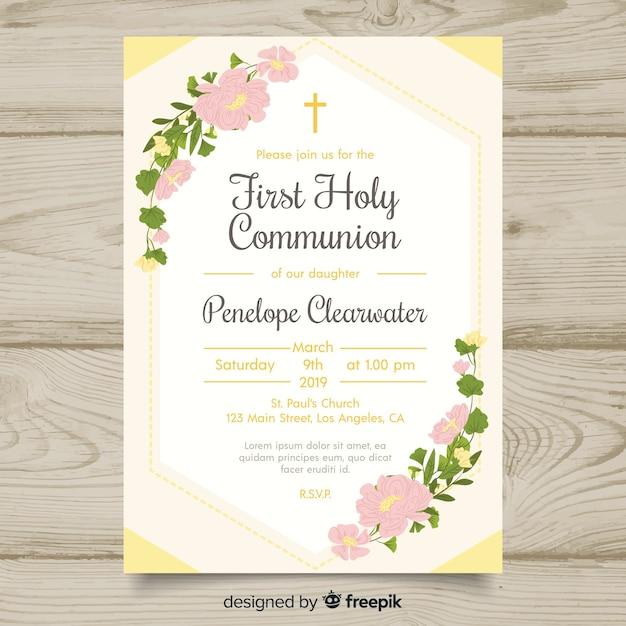 花の最初の聖体拝領の招待状のテンプレート 無料ベクター