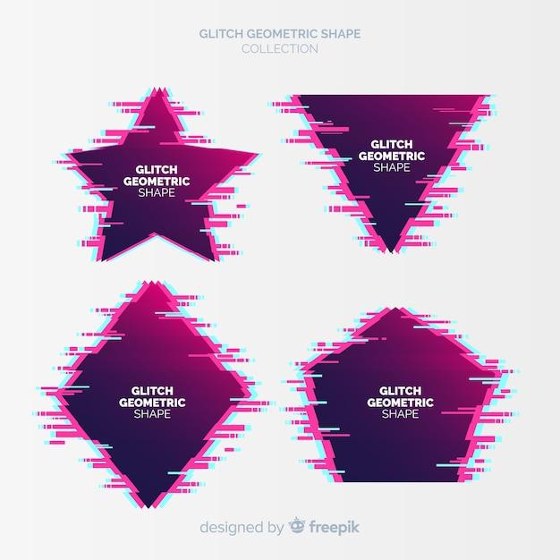 グリッチ幾何学的形状コレクション 無料ベクター