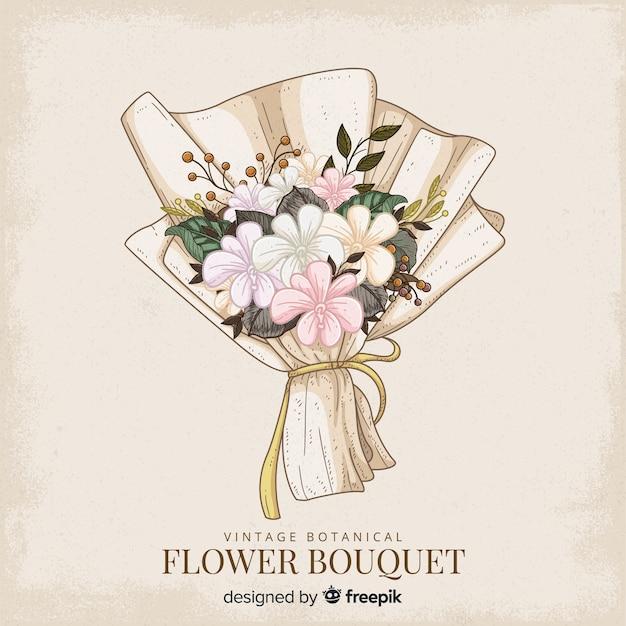 ビンテージ植物の花の花束 無料ベクター