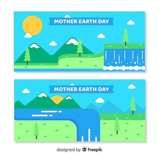 平らな母なる地球日バナー 無料ベクター