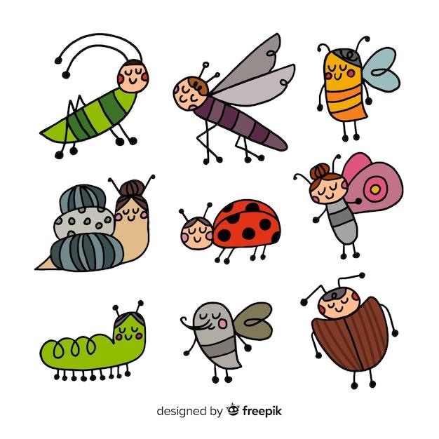 Анимированная коллекция насекомых Бесплатные векторы