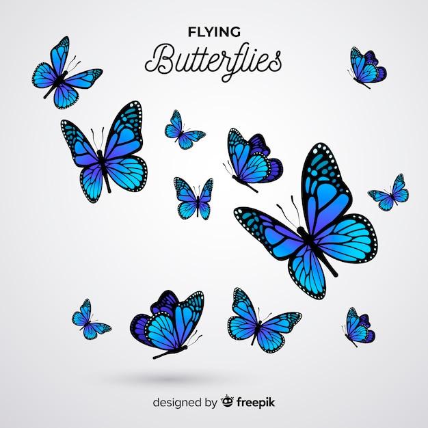 現実的な蝶の群れの背景 無料ベクター