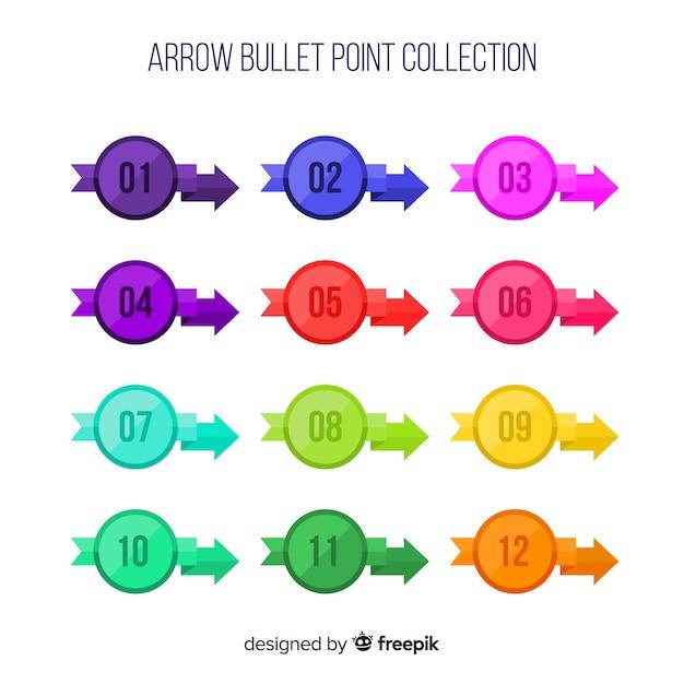 Коллекция точек с плоской стрелкой Бесплатные векторы