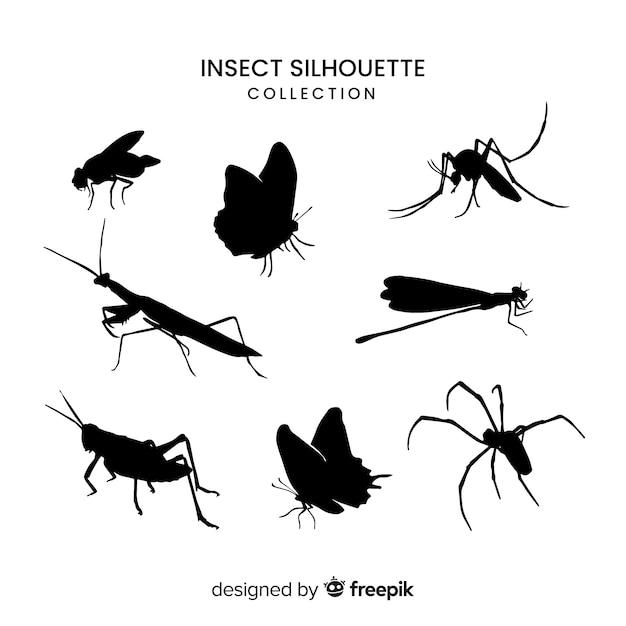 リアルな昆虫シルエットコレクション 無料ベクター