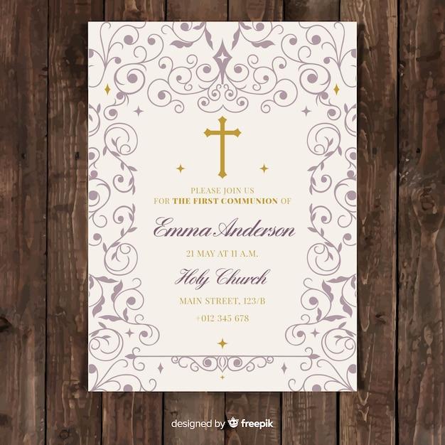 最初の聖体拝領の招待状のテンプレート 無料ベクター