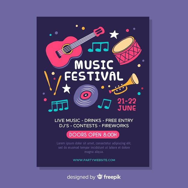 Флаер музыкального фестиваля Бесплатные векторы