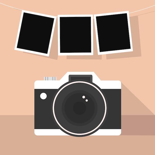 ポラロイドカメラと写真 無料ベクター