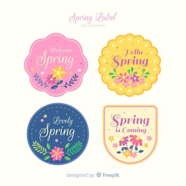 春のラベルコレクション 無料ベクター