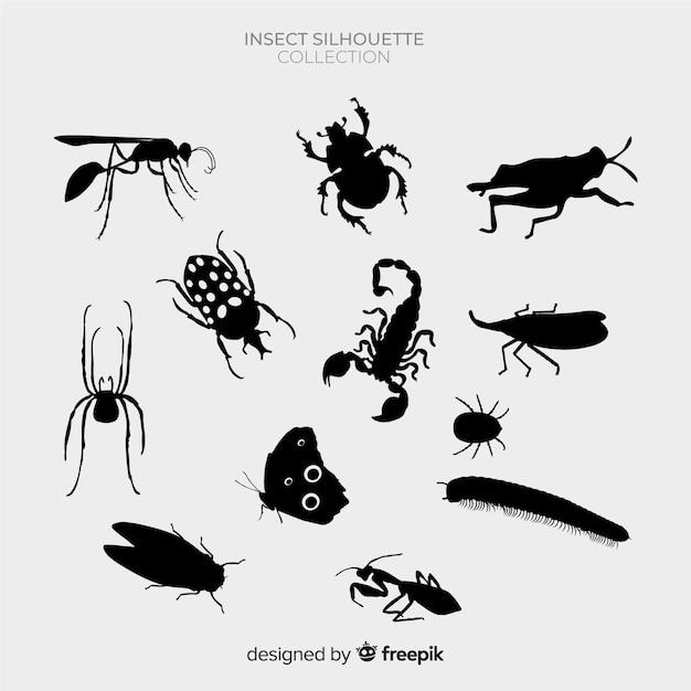 Набор силуэтов насекомых Бесплатные векторы