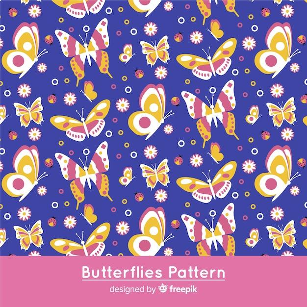 蝶の装飾模様 無料ベクター