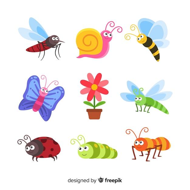 かわいい手描き昆虫パック 無料ベクター