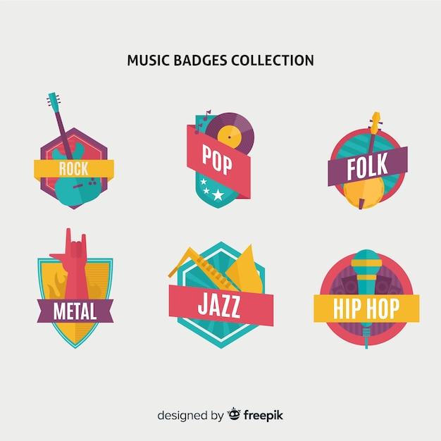 フラットなデザインの音楽スタイルのバッジとステッカーのコレクション 無料ベクター