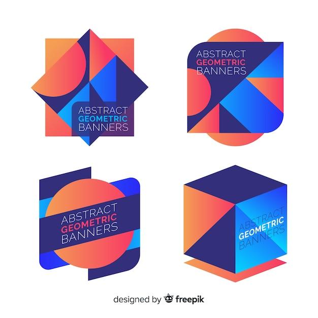 Абстрактные геометрические баннеры Бесплатные векторы