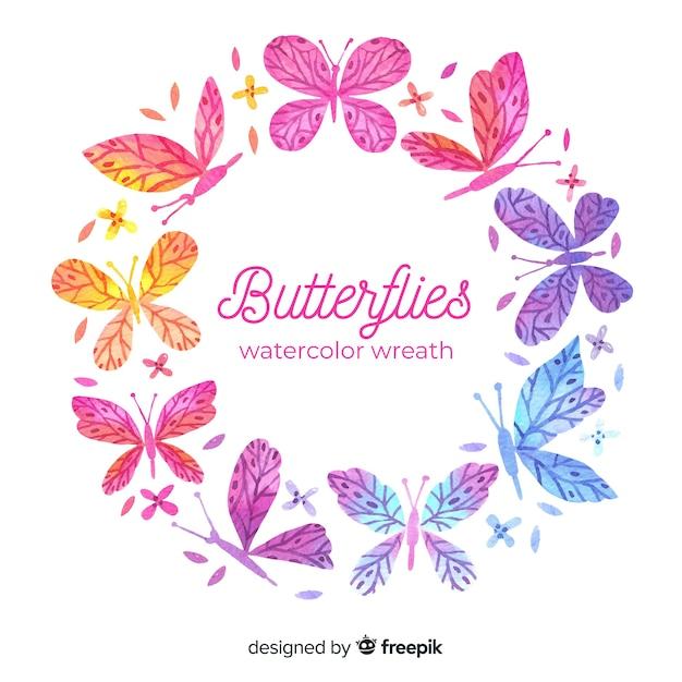 水彩蝶の花輪 無料ベクター