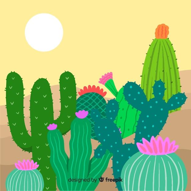 Кактус на фоне пустыни Бесплатные векторы