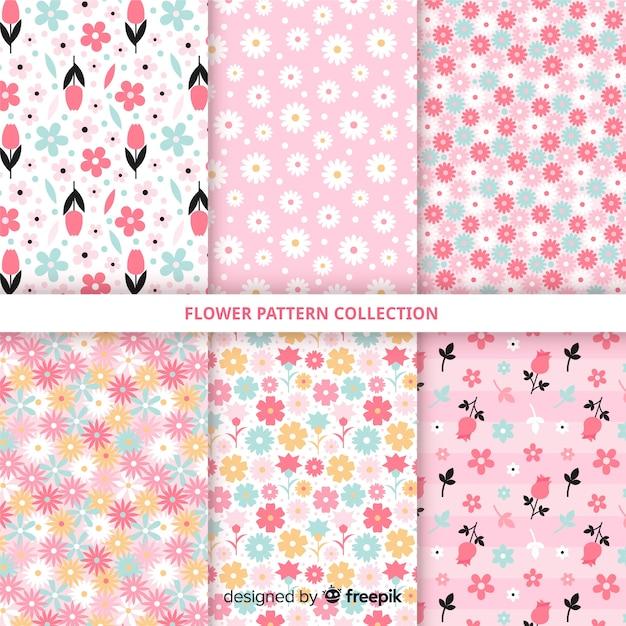 Ручной обращается коллекция цветочных узоров Бесплатные векторы