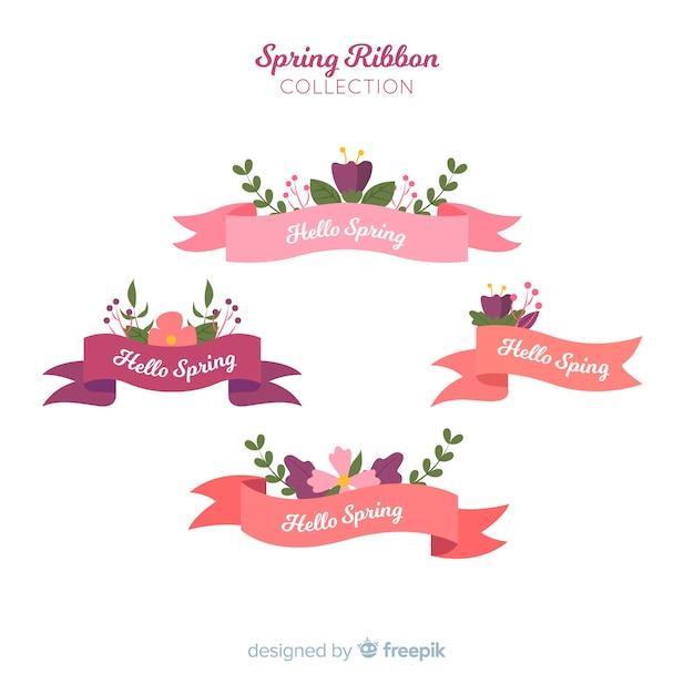 春のリボンコレクション 無料ベクター